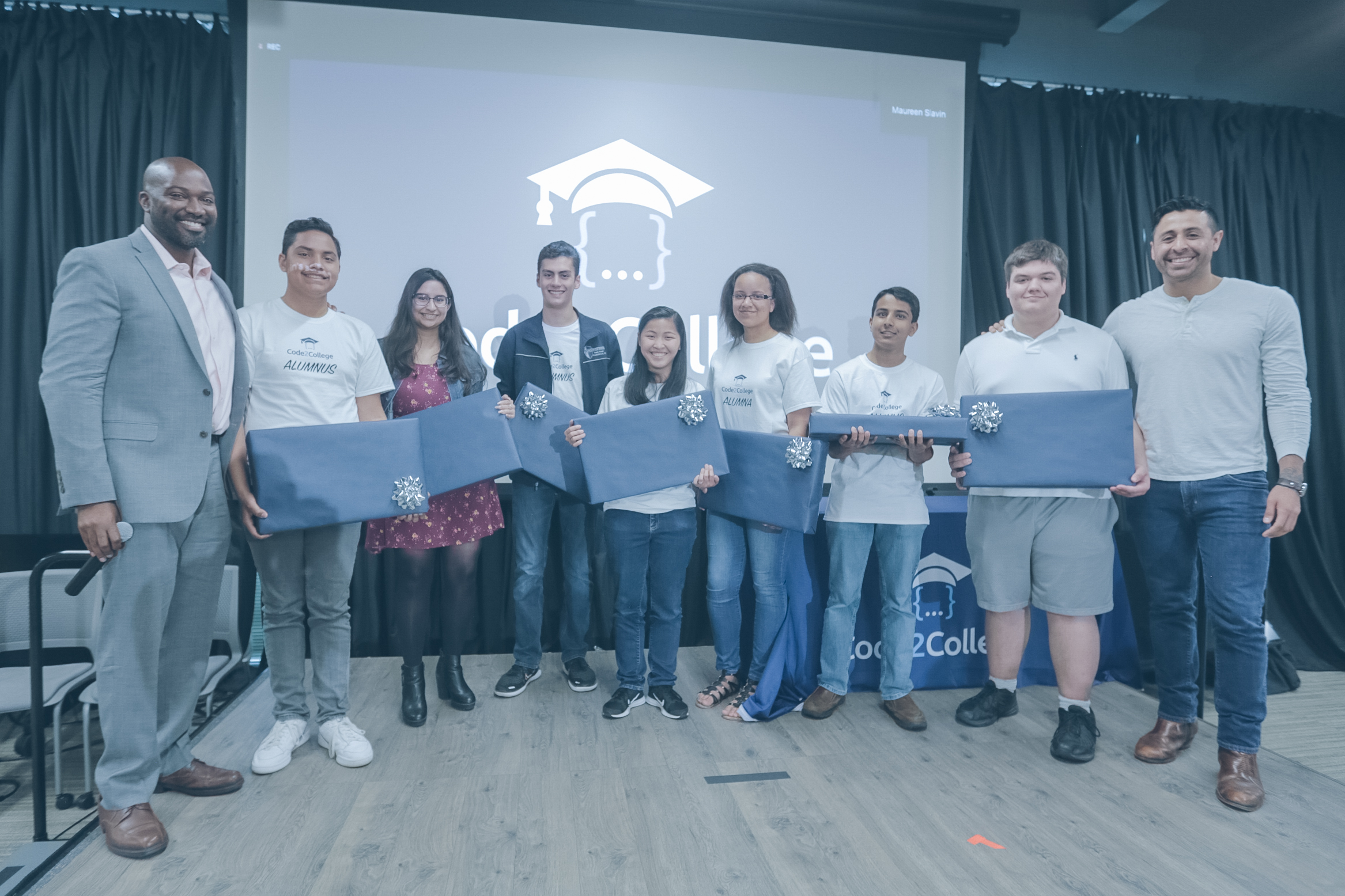 Code2College 2019 Graduation where Daniel Lucio, Government and Community Affairs Manager at Google Fiber, took the stage with Matt to announce that Google Fiber donated a brand new laptop to all of the graduating seniors from Code2College!