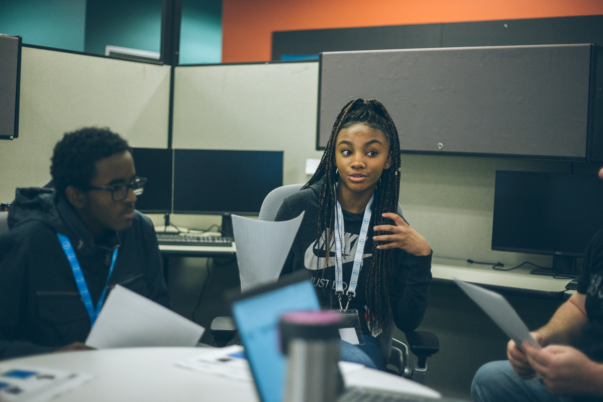 Code2College students working as a team